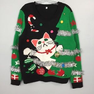 Sweaters - Mischievous Cat Ugly Christmas Sweater with Bells